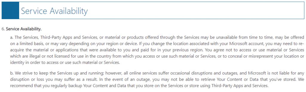 Microsoft Service Agreement