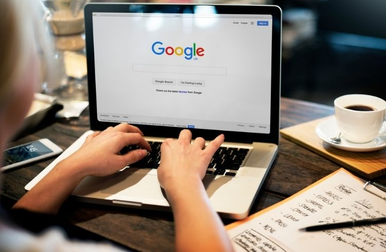Google home page on a person's laptop screen